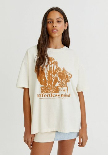 MIT KAKTUSMOTIV - Print T-shirt - white