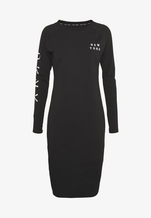 LONG SLEEVE CREW NECK DRESS - Žerzejové šaty - black
