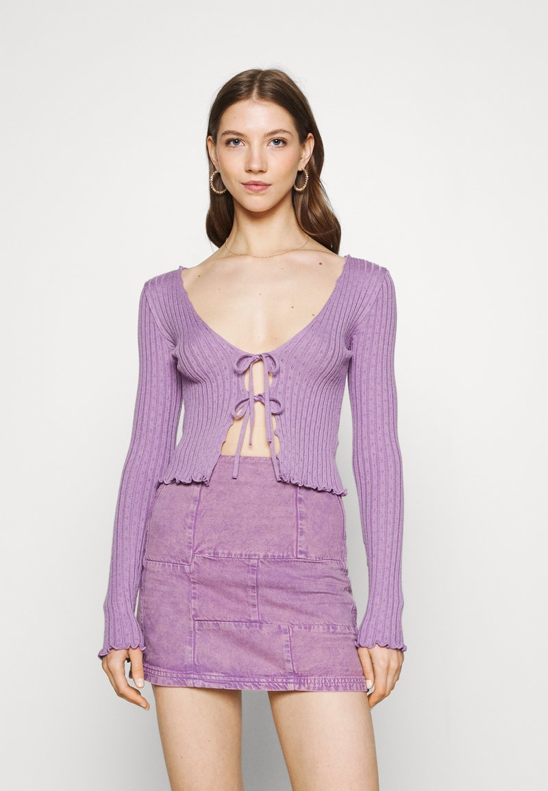 BDG Urban Outfitters - NOORI TIE FRONT - Cardigan - lilac