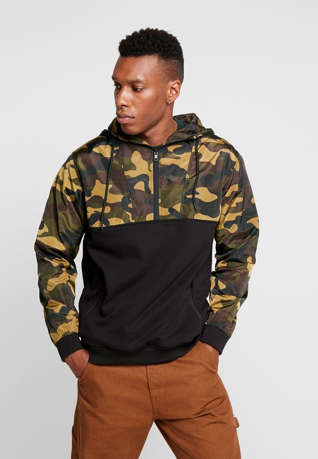 MILITARY HALF ZIP HOODY - Huppari - black wood camo