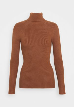 BASIC- RIBBED TURTLE NECK - Jumper - brown