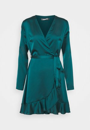 RUFFLE TEA DRESS - Sukienka koktajlowa - teal