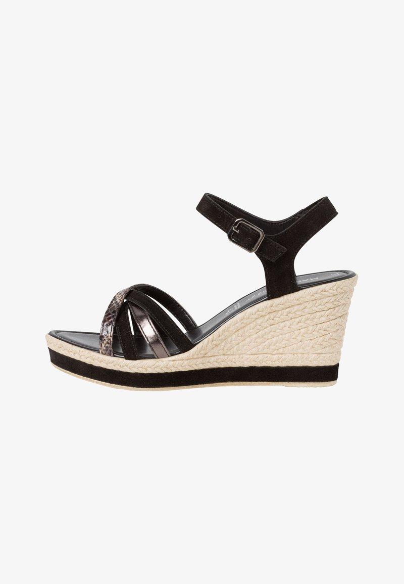 Marco Tozzi - Wedge sandals - black comb