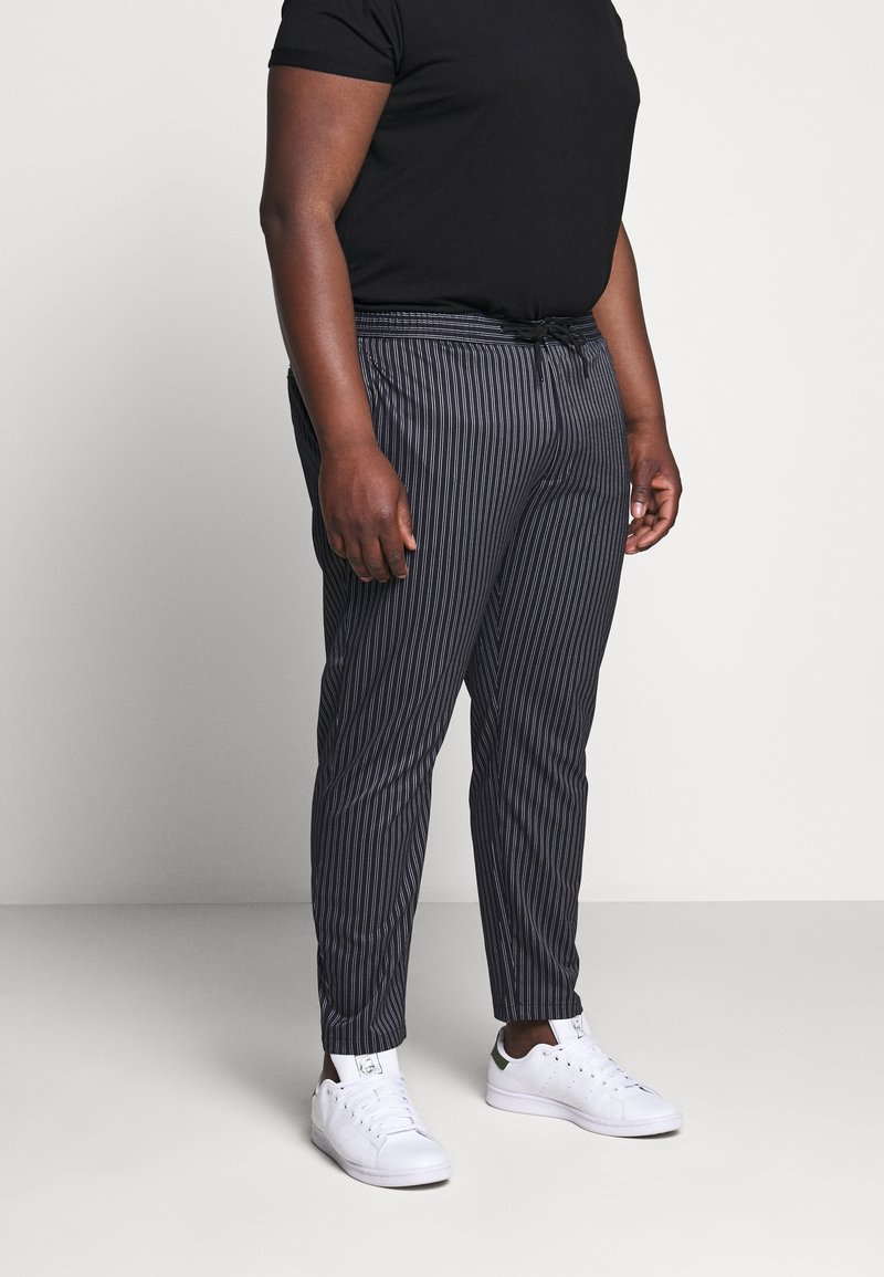 Topman - STRIPE WHYATT - Trousers - dark blue/white