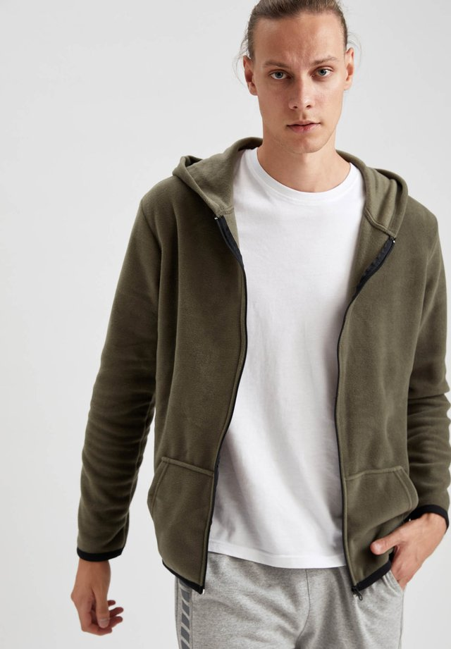 SLIM FIT - veste en sweat zippée - khaki