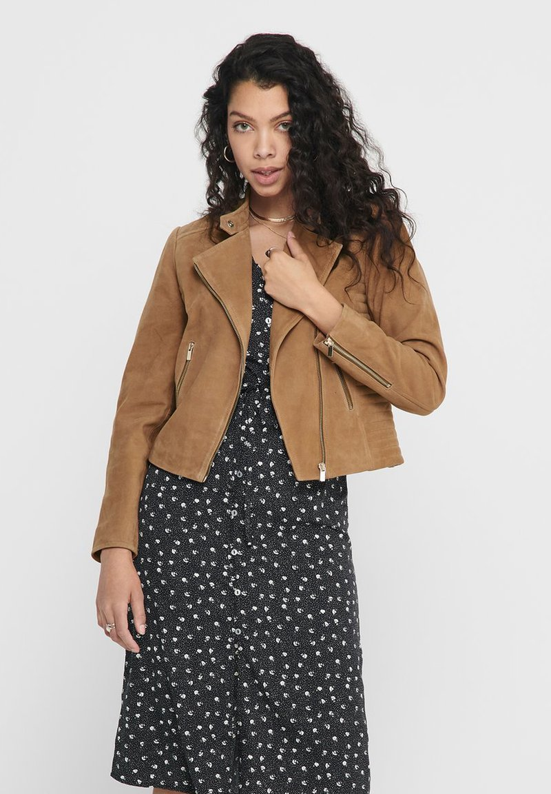 ONLY - Leather jacket - cognac