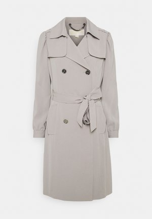 DOUBLE BREASTED PUFF SLEEVE DRAPERY - Trench - nickel