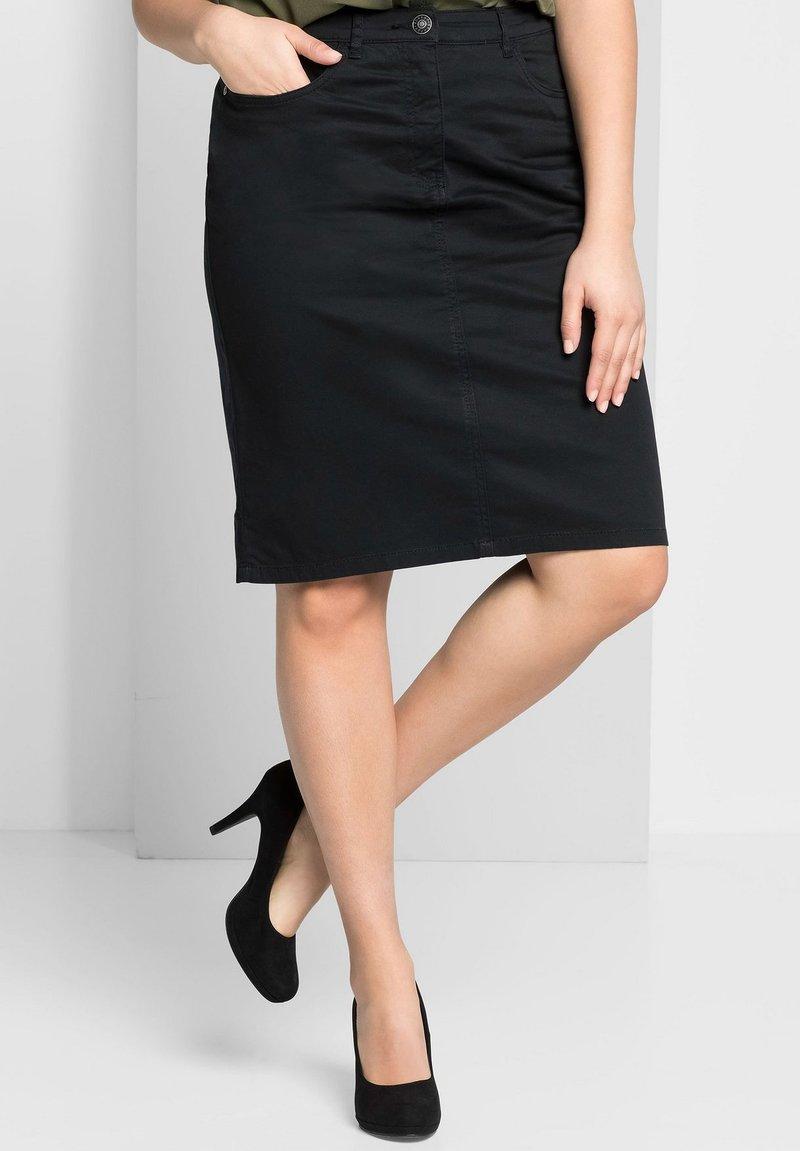 Sheego - Denim skirt - schwarz