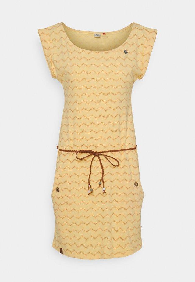 TAG CHEVRON - Vestito di maglina - yellow