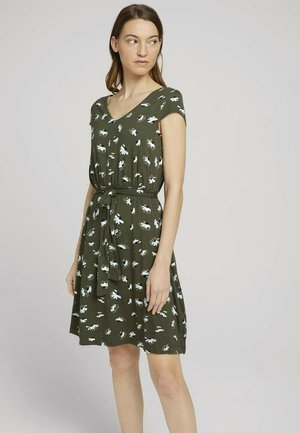 Korte jurk - khaki floral design