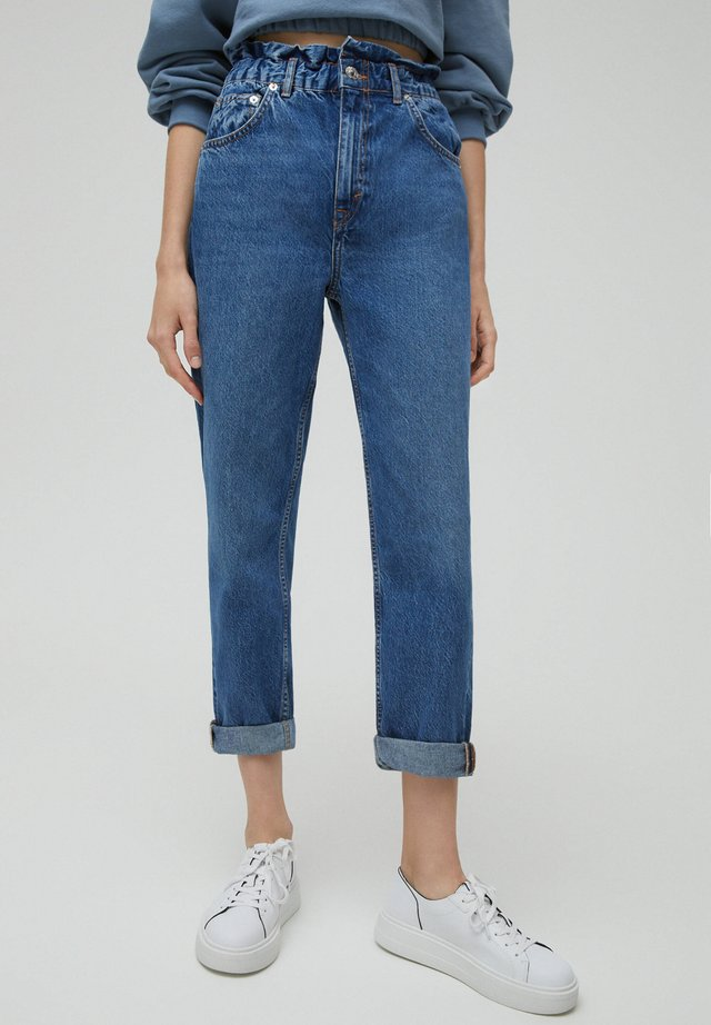 Jeans Straight Leg - mottled dark blue