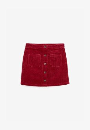 BUTTON THROUGH CORD - A-line skirt - red