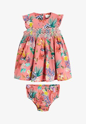 CORAL FLORAL DRESS WITH MATCHING KNICKERS (0MTHS-2YRS) - Boxerky - pink