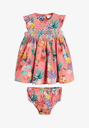 CORAL FLORAL DRESS WITH MATCHING KNICKERS (0MTHS-2YRS)