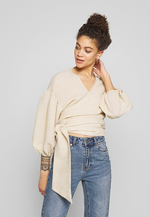 TIE BACK WRAP CROPPED - Blouse - beige