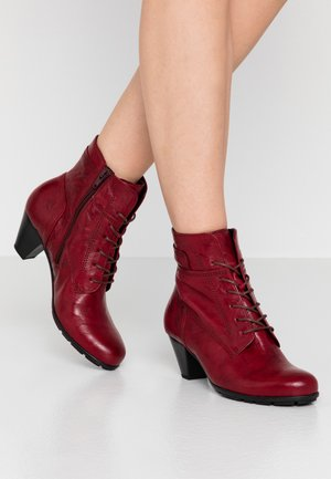 Lace-up ankle boots - dark red
