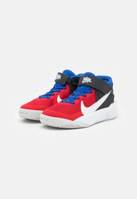 Nike Performance - TEAM HUSTLE D 10 FLYEASE UNISEX - Basketball shoes - off noir/white/university red/game royal - 1
