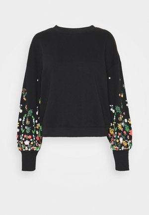 ONLBROOKE O NECK FLOWER - Collegepaita - black