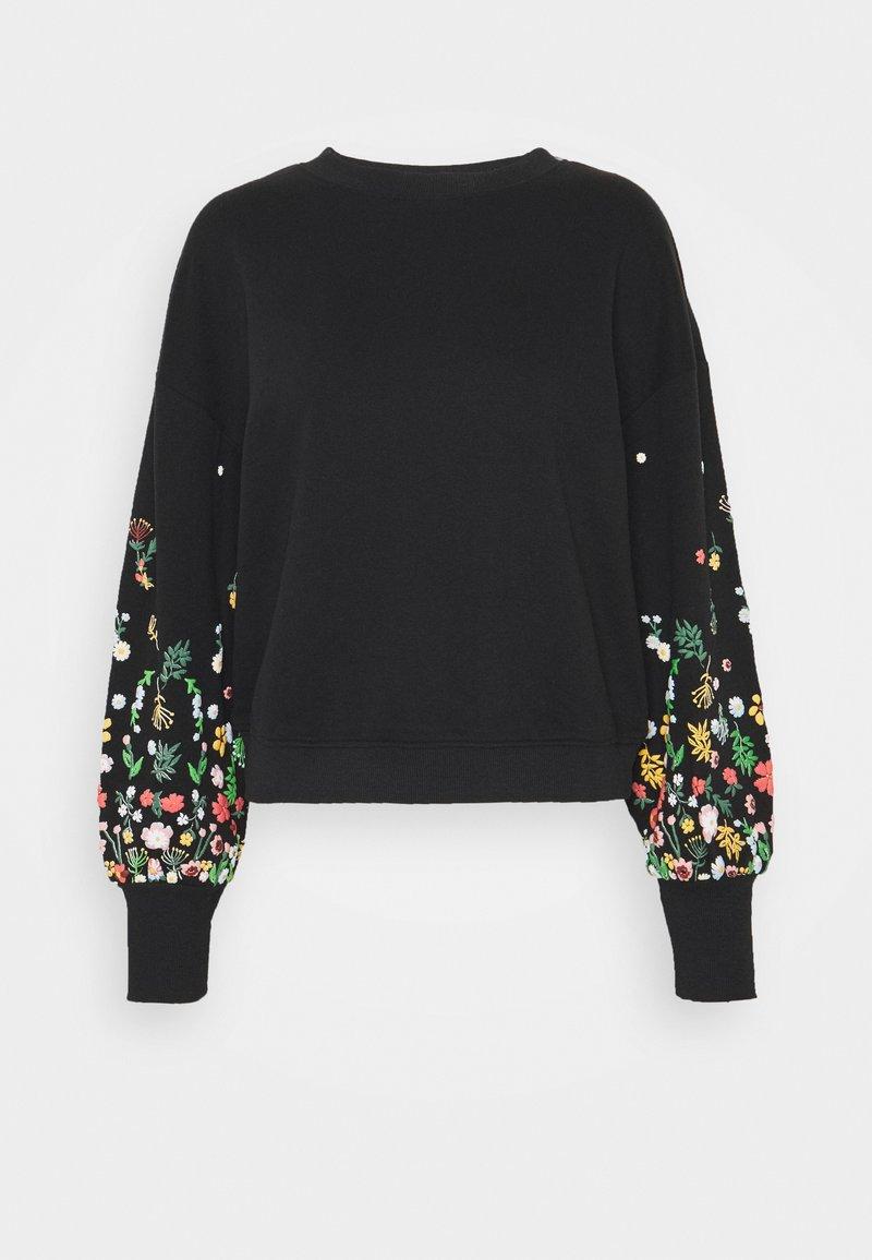 ONLY - ONLBROOKE O NECK FLOWER - Sweatshirt - black