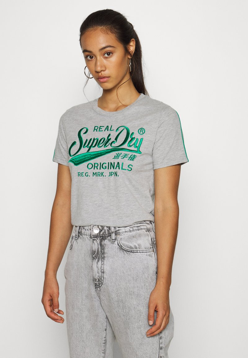 Superdry - PIPING ENTRY TEE - T-shirts med print - grey