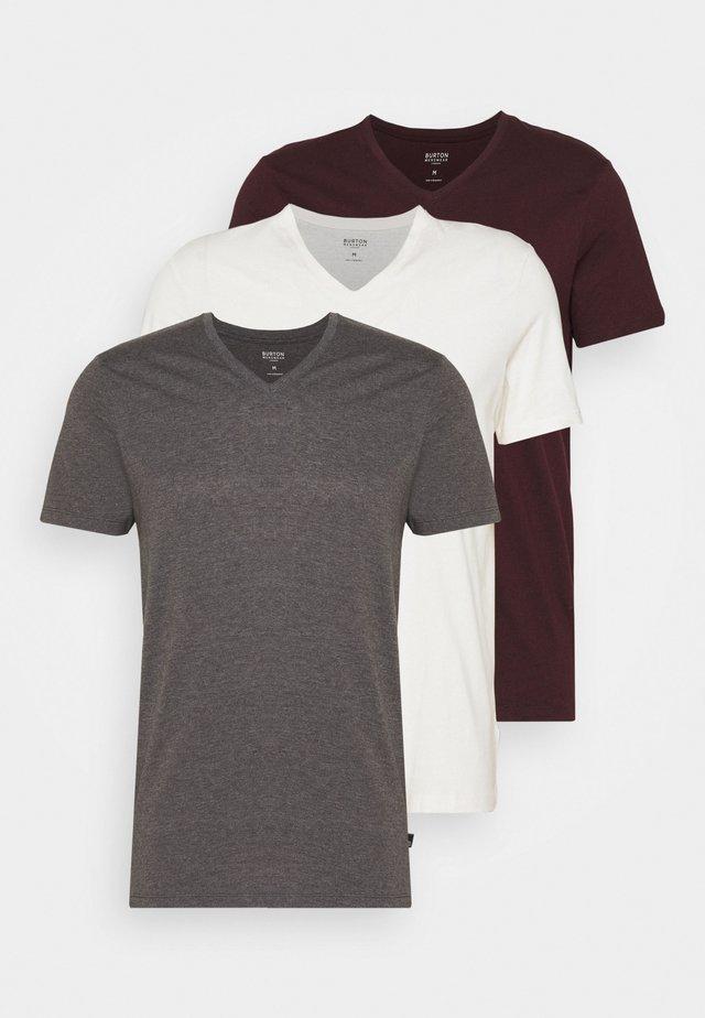 SHORT SLEEVE V NECK 3 PACK - Basic T-shirt - charcoal