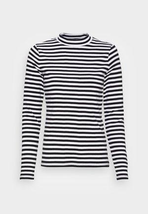 FULL NEELDE MOCK NECK STRIPED - Long sleeved top - black