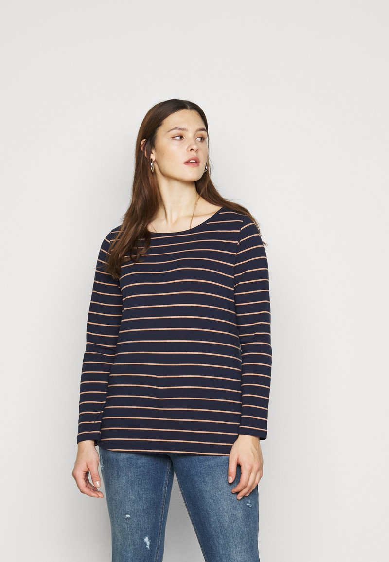 Anna Field Curvy - Long sleeved top - dark blue/camel