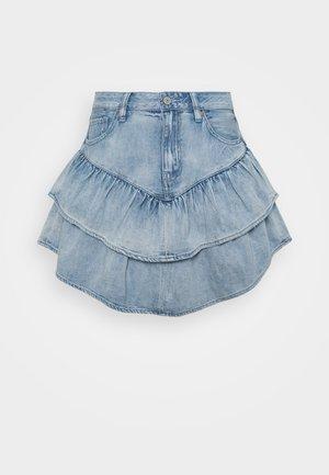 DOUBLE TIER SKIRT - Jupe en jean - light acid wash