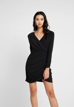 SHAMIMA DRAPED MINI DRESS - Shift dress - black