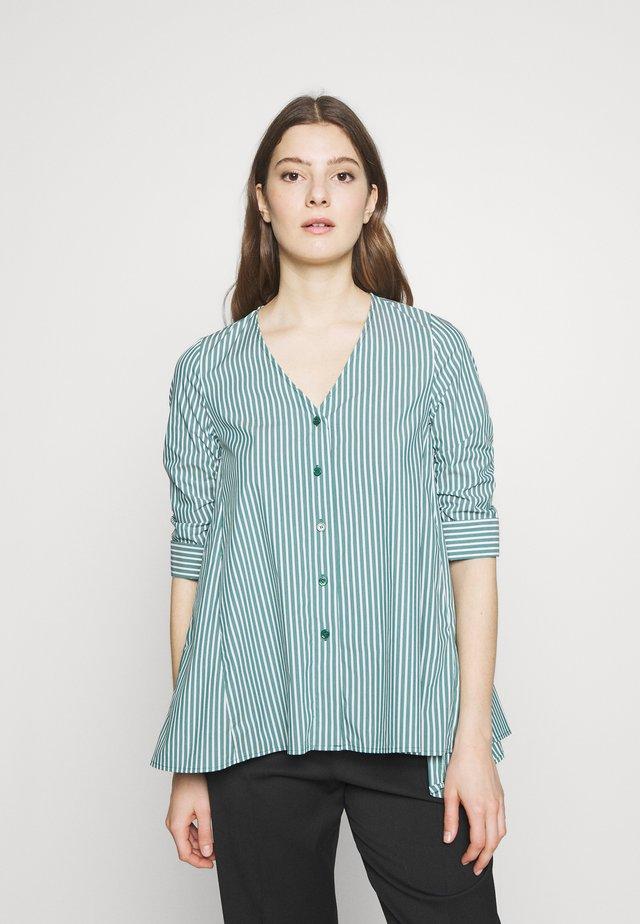 EXCLUSIVE COLARLESS BLOUSE - Blouse - green/white