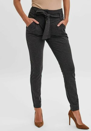 HIGH WAIST GÜRTEL PAPERBAG - Trousers - dark grey melange