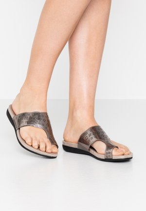 SLIDES - T-bar sandals - pewter