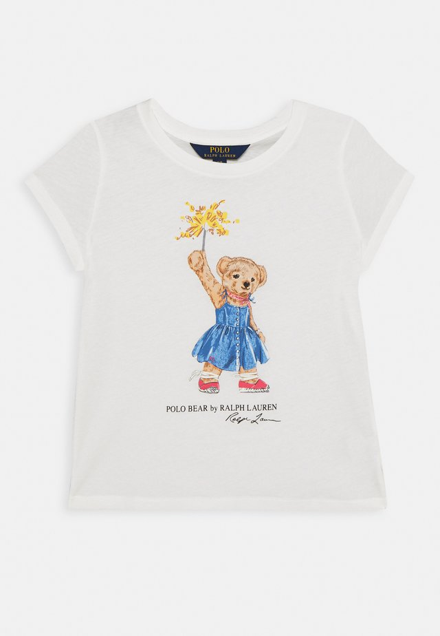 BEAR TEE - T-shirt z nadrukiem - deckwash white