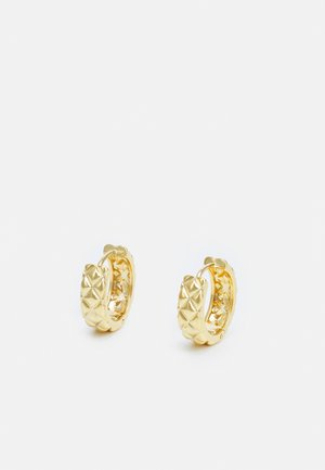 QUILTED HUGGIE HOOP EARRINGS - Earrings - pale gold-coloured