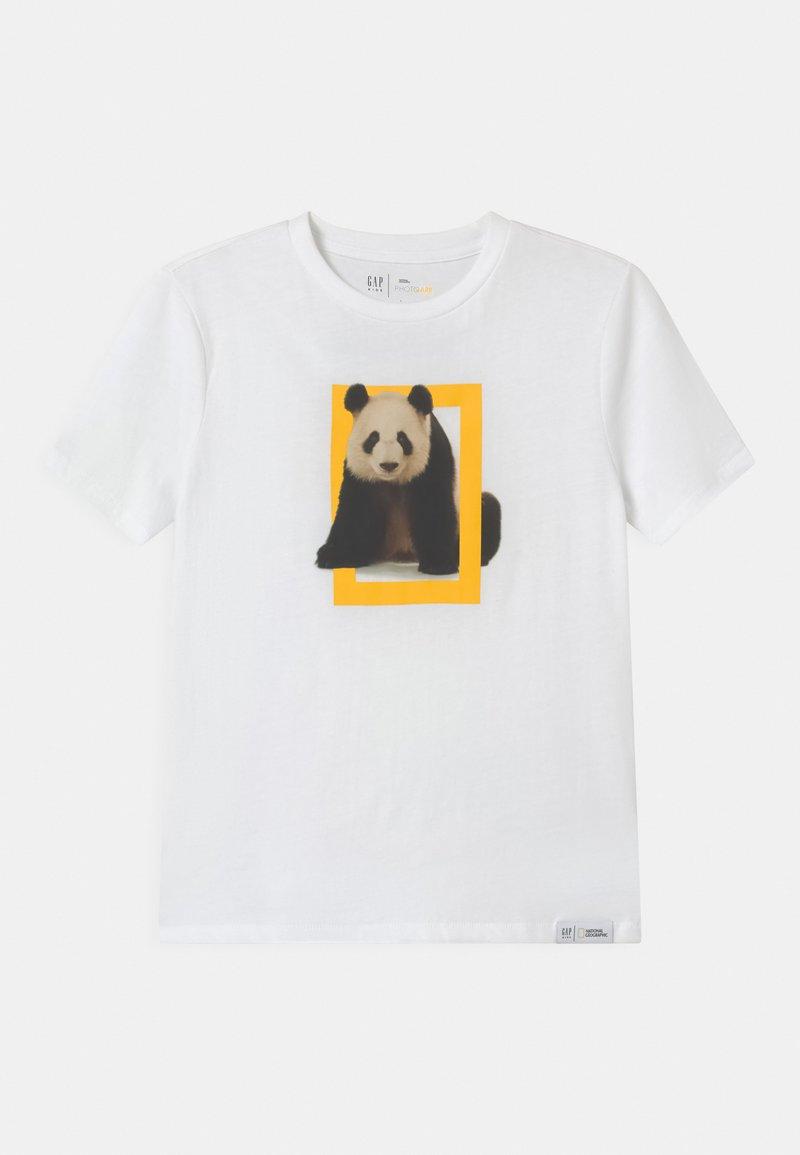 GAP - BOY NATIONAL GEOGRAPHIC TIGER - Print T-shirt - optic white