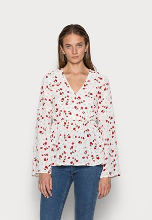 JOSSA OFF WHITE FLORAL PRINT WRAP SLEEVE - Bluzka z długim rękawem - white