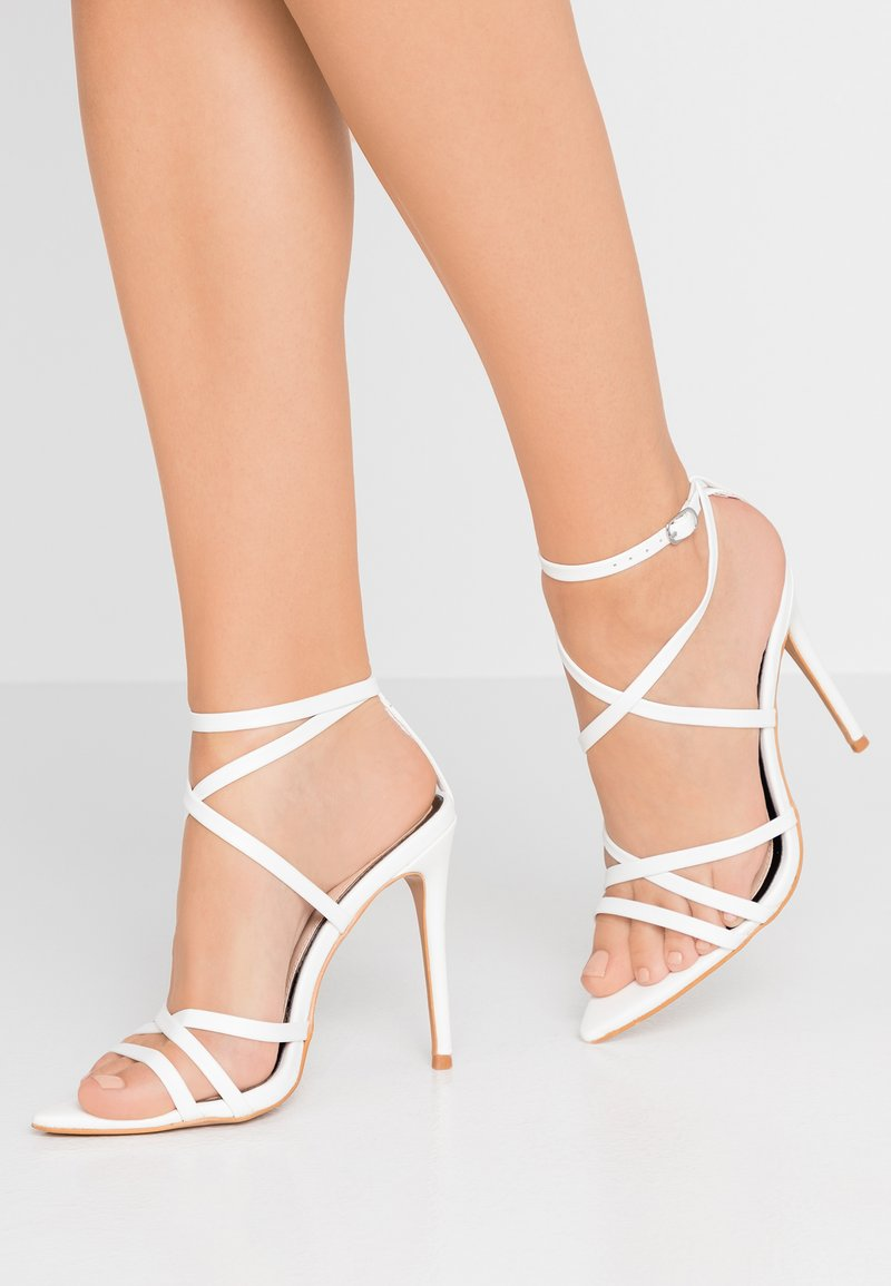Miss Selfridge - SLOANE STRAPPY POINTED TOE  - High heeled sandals - white
