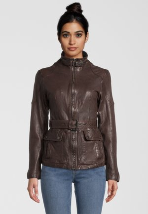 BE KIND - Leather jacket - d brown