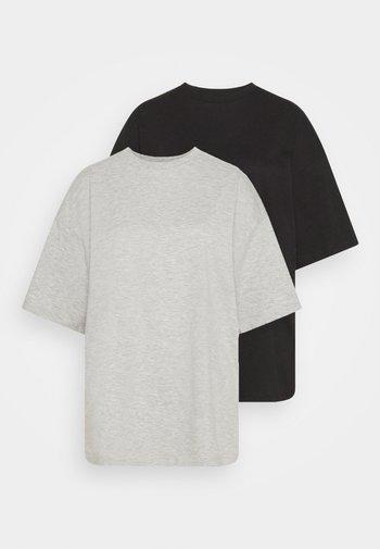 2 PACK - Basic T-shirt - black/mottled light grey