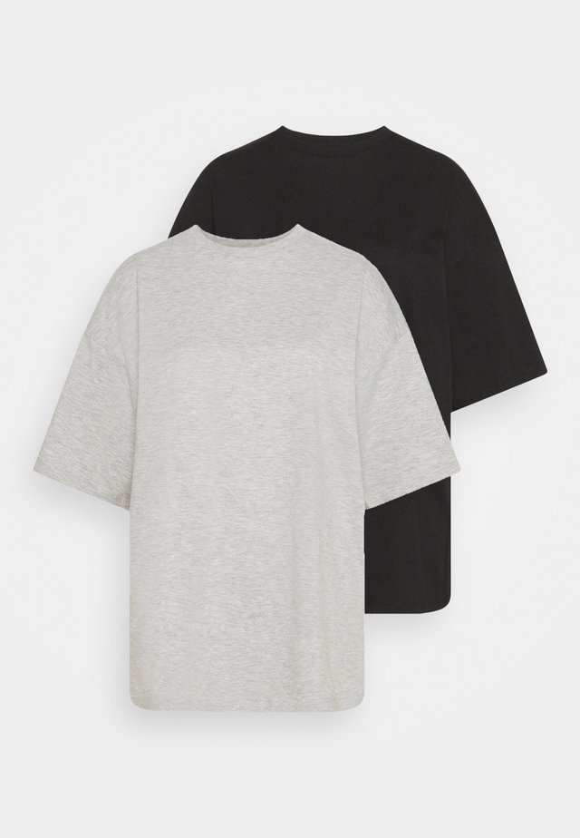 2 PACK - Basic T-shirt - black/mottled light grey