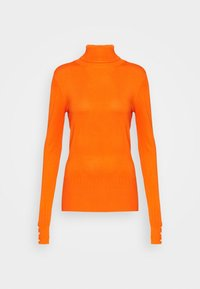 PEARL BUTTON CUFF ROLL NECK - Jumper - orange