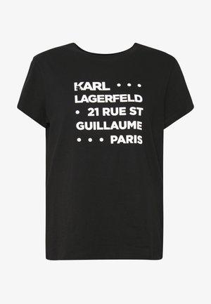 STACKED LOGO ADRESS  - Print T-shirt - black