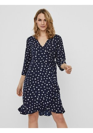 VMHENNA WRAP DRESS - Day dress - navy blazer