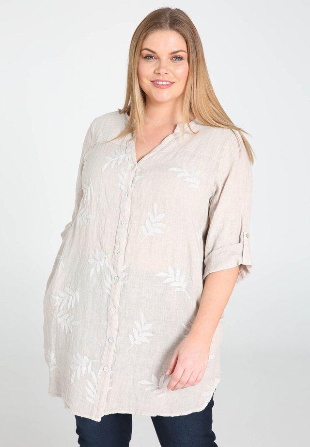 MIT STICKEREIEN UND PAILLETTEN - Skjortebluser - mottled beige
