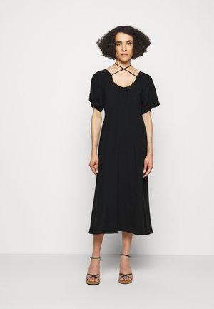 TIE DETAIL SHORT SLEEVE  - Korte jurk - black