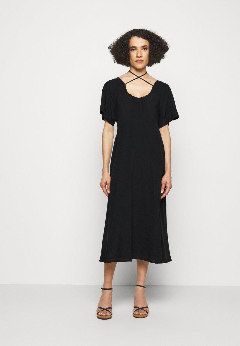 Victoria Beckham - TIE DETAIL SHORT SLEEVE  - Day dress - black