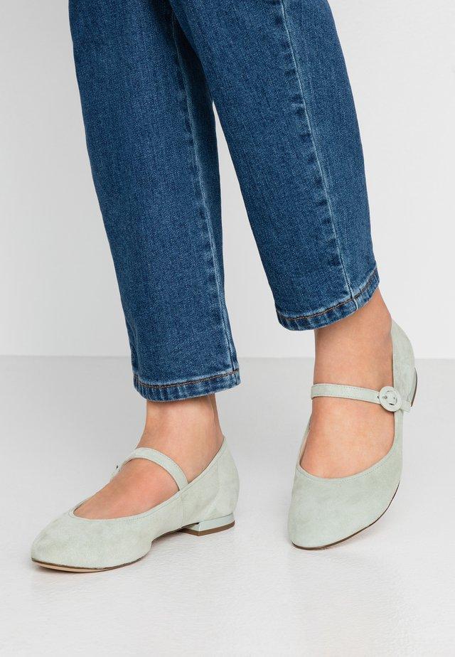 Ankle strap ballet pumps - salvia