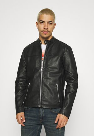 ONSDEAN JACKET - Leather jacket - black