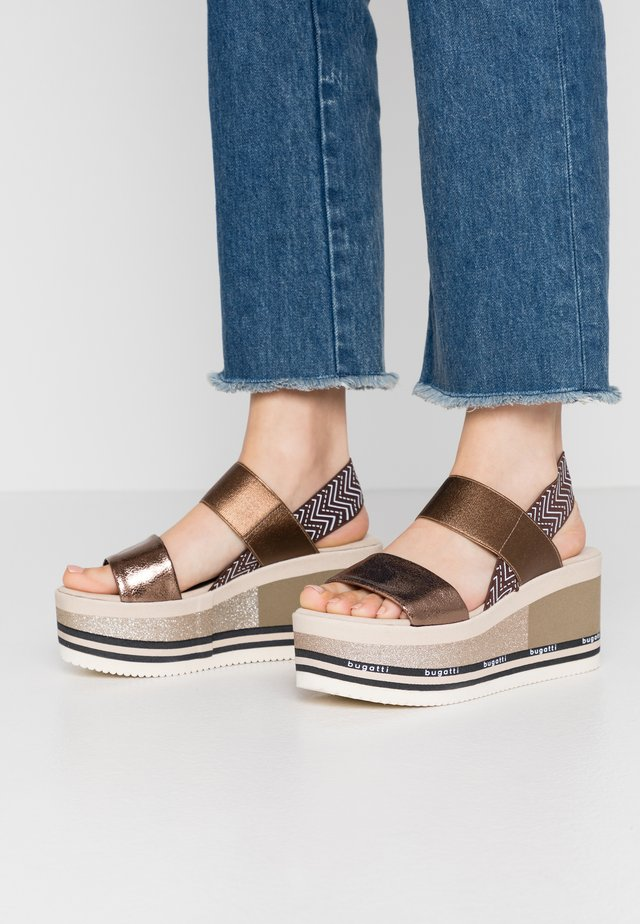 CHAI - Platform sandals - brown/metallics