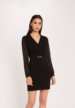 STRAIGHT S WITH ORNAMENT - Vestido de tubo - black